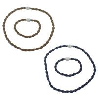 Ogranicz ze stali nierdzewnej Zestawy biżuterii, bransoletka & naszyjnik, Stal nierdzewna, ze Glina, Powlekane, z rhinestone 180 szt & lina łańcucha & Dwukolorowe, dostępnych więcej kolorów, 17x11mm, 6mm,17x11mm, 6mm, długość:około 18 cal, około 8 cal, 20zestawy/wiele, sprzedane przez wiele