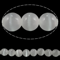 Cats Eye Jewelry Beads, Round, different size for choice, white, Sold By Lot