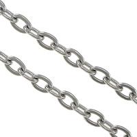 Owalne łańcucha ze stali nierdzewnej, Stal nierdzewna, oryginalny kolor, 3.2x2.3x0.5mm, 0.6mm, 100m/wiele, sprzedane przez wiele