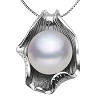 Freshwater Pearl Pendants, with Brass, Leaf, natural, white, 10-11mm, Hole:Approx 2-5mm, Sold By PC