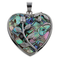 Natural Mosaic Shell Pendants, Abalone Shell, with Zinc Alloy, Heart, platinum color plated, 33x36x6mm, Hole:Approx 4x5mm, 10PCs/Bag, Sold By Bag