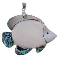 Natural Mosaic Shell Pendants, Freshwater Shell, with brass bail & Black Shell & Abalone Shell, Fish, platinum color plated, 50x46x5mm, Hole:Approx 4x5mm, 10PCs/Bag, Sold By Bag