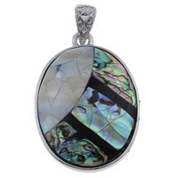 Natural Mosaic Shell Pendants, Abalone Shell, with Freshwater Shell & Resin & Zinc Alloy, Flat Oval, platinum color plated, 33x48x7mm, Hole:Approx 5x7mm, 10PCs/Bag, Sold By Bag