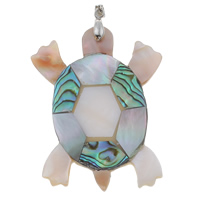 Natural Mosaic Shell Pendants, Freshwater Shell, with brass bail & Black Shell & Abalone Shell, Turtle, platinum color plated, 43x53x4mm, Hole:Approx 4x3mm, 10PCs/Bag, Sold By Bag