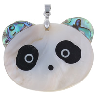 Natural Mosaic Shell Pendants, Freshwater Shell, with brass bail & Abalone Shell, Panda, platinum color plated, 50x43x5mm, Hole:Approx 4x6mm, 10PCs/Bag, Sold By Bag