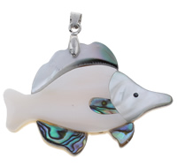 Natural Mosaic Shell Pendants, Freshwater Shell, with brass bail & Black Shell & Abalone Shell, Fish, platinum color plated, with rhinestone, 53x38x5mm, Hole:Approx 4x6mm, 10PCs/Bag, Sold By Bag