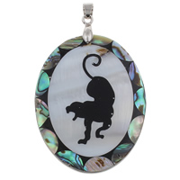 Natural Mosaic Shell Pendants, Freshwater Shell, with brass bail & Abalone Shell & Resin, Flat Oval, platinum color plated, 39x53x4mm, Hole:Approx 4x6mm, 10PCs/Bag, Sold By Bag