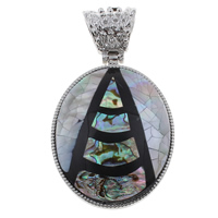 Natural Mosaic Shell Pendants, Black Shell, with Abalone Shell & Resin & Zinc Alloy, Flat Oval, platinum color plated, 42x60x8.50mm, Hole:Approx 8x12mm, 10PCs/Bag, Sold By Bag