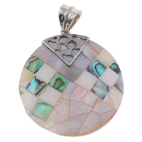Natural Mosaic Shell Pendants, Freshwater Shell, with Black Shell & Abalone Shell & Zinc Alloy, Flat Round, platinum color plated, 41x46x4mm, Hole:Approx 6x7mm, 10PCs/Bag, Sold By Bag