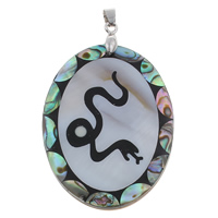 Natural Mosaic Shell Pendants, Freshwater Shell, with brass bail & Abalone Shell & Resin, Flat Oval, platinum color plated, with chinese zodiac pattern, 39x53x4.50mm, Hole:Approx 4x6mm, 10PCs/Bag, Sold By Bag