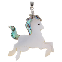Natural Mosaic Shell Pendants, Freshwater Shell, with brass bail & Abalone Shell, Horse, platinum color plated, 44x45x4mm, Hole:Approx 4x5mm, 10PCs/Bag, Sold By Bag