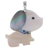 Natural Mosaic Shell Pendants, Freshwater Shell, with brass bail & Black Shell & Abalone Shell, Dog, platinum color plated, with rhinestone, 48x49x6mm, Hole:Approx 4x6mm, 10PCs/Bag, Sold By Bag