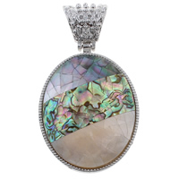 Natural Mosaic Shell Pendants, Freshwater Shell, with Black Shell & Abalone Shell & Zinc Alloy, Flat Oval, platinum color plated, 43x60x8mm, Hole:Approx 8x12mm, 10PCs/Bag, Sold By Bag