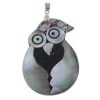 Natural Mosaic Shell Pendants, Black Shell, with brass bail & Freshwater Shell & Abalone Shell & Resin, Owl, platinum color plated, 40x56x5mm, Hole:Approx 4x5mm, 10PCs/Bag, Sold By Bag