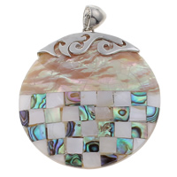 Natural Mosaic Shell Pendants, Freshwater Shell, with Abalone Shell & Zinc Alloy, Flat Round, platinum color plated, 46x51x7mm, Hole:Approx 4x7mm, 10PCs/Bag, Sold By Bag