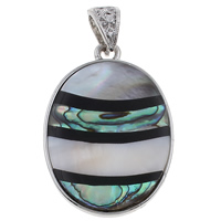 Natural Mosaic Shell Pendants, Freshwater Shell, with Black Shell & Abalone Shell & Resin & Zinc Alloy, Flat Oval, platinum color plated, 33x46x4mm, Hole:Approx 5x7mm, 10PCs/Bag, Sold By Bag