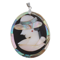Natural Mosaic Shell Pendants, Freshwater Shell, with brass bail & Black Shell & Abalone Shell & Resin, Flat Oval, platinum color plated, lady cameo & with rhinestone, 44x56x4mm, Hole:Approx 4x6mm, 10PCs/Bag, Sold By Bag