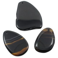 Lace Agate Pendants, mixed, black, 33-57mm, 52-72mm, Hole:Approx 1mm, 20PCs/Bag, Sold By Bag