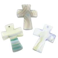Lace Agate Pendants, Cross, mixed colors, 34x49mm-39x57mm, Hole:Approx 1mm, 20PCs/Bag, Sold By Bag