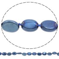Hopeoidut akaatti helmet, Flat Oval, päällystetty, sininen, 12x15x5mm, Reikä:N. 1mm, Pituus:N. 17 tuuma, 5säikeet/laukku, N. 24PC/Strand, Myymät laukku