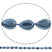 Vergulde Agaat parels, Traan, plated, blauw, 13x18x6mm, Gat:Ca 1mm, Lengte:Ca 15.5 inch, 5strengen/Bag, Ca 20pC's/Strand, Verkocht door Bag