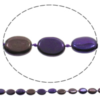 Hopeoidut akaatti helmet, Flat Oval, päällystetty, violetti, 15x20x7mm, Reikä:N. 1mm, Pituus:N. 15.5 tuuma, 5säikeet/laukku, N. 18PC/Strand, Myymät laukku