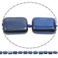 Vergulde Agaat parels, Rechthoek, plated, blauw, 12x16x5mm, Gat:Ca 1mm, Lengte:Ca 16 inch, 5strengen/Bag, Ca 22pC's/Strand, Verkocht door Bag