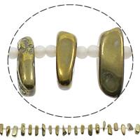 Hopeoidut akaatti helmet, kullan väri kullattu, 6-9mm, 28-34mm, Reikä:N. 1mm, Pituus:N. 15.5 tuuma, 5säikeet/laukku, N. 32PC/Strand, Myymät laukku