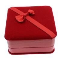 Velveteen Bracelet Box, with Cardboard & Grosgrain Ribbon, Square, red, 95x48mm, 10PCs/Bag, Sold By Bag