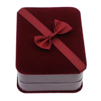 Velveteen Necklace Box, with Cardboard & Grosgrain Ribbon, Rectangle, deep red, 73x94x40mm, 10PCs/Bag, Sold By Bag