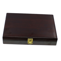 Wood Jewelry Set Box, finger ring & necklace, with Velveteen & Glass & Brass, Rectangle, painted, dark red, 265x200x50mm, Sold By PC