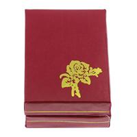 Kartonowe pudełko na naszyjnik, Tektura, ze Welwet, Prostokąt, z motywem kwiatowym, czerwony, 47x67x26mm, 20komputery/torba, sprzedane przez torba