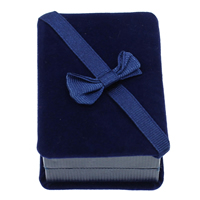 Velveteen Necklace Box, with Cardboard & Grosgrain Ribbon, Rectangle, blue, 90x70x40mm, 10PCs/Bag, Sold By Bag