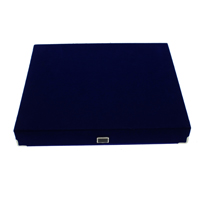 Velveteen Necklace Box, with Cardboard & Brass, Rectangle, blue, 230x195x35mm, 10PCs/Bag, Sold By Bag