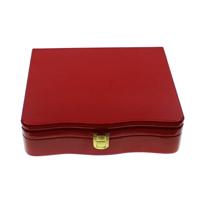 Drewniane pudełko na naszyjnik, Drewno, ze Welwet & Mosiądz, Prostokąt, Malowane, czerwony, 225x215x30mm, sprzedane przez PC