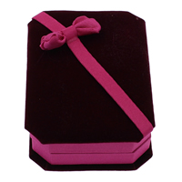 Velveteen Necklace Box, with Cardboard & Grosgrain Ribbon, Octagon, two tone, 73x100x30mm, 18PCs/Bag, Sold By Bag