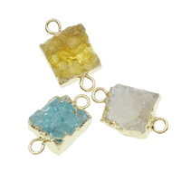 Druzy Connector, Ice Quartz Agate, with Brass, Rectangle, gold color plated, druzy style & 1/1 loop, mixed colors, 15x21mm-18x24mm, Hole:Approx 2mm, 6PCs/Bag, Sold By Bag