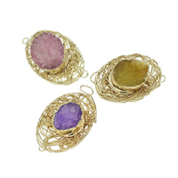 Druzy Connector Ice Quartz Agate with Brass Flat Oval gold color plated druzy style   1/1 loop mixed colors 36-43mm 26mm Hole:Approx 8mm 7PCs/Bag