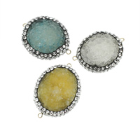 Druzy Connector Ice Quartz Agate with Clay Pave Flat Oval druzy style   with rhinestone   1/1 loop mixed colors 23-30mm 32-40mm Hole:Approx 2mm 5PCs/Bag