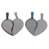 Stainless Steel Couple Pendants, Heart, plated, for couple, more colors for choice, 36x33x2mm, Hole:Approx 4x8mm, 10Pairs/Bag, Sold By Bag