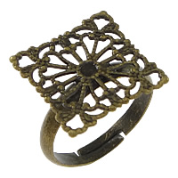 Brass Filigree Ring Base Square antique bronze color plated adjustable nickel lead   cadmium free 16mm US Ring Size:6.5 100PCs/Lot