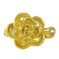 Zinc Alloy Box Clasp, Flower, gold color plated, single-strand, nickel, lead & cadmium free, 16x11x6mm, Hole:Approx 2mm, 100PCs/Lot, Sold By Lot