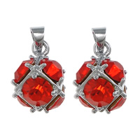 Rhinestone Brass Pendants, Round, platinum color plated, with rhinestone, red, nickel, lead & cadmium free, 11x16x11mm, Hole:Approx 3.5x4mm, 50PCs/Lot, Sold By Lot