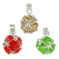 Rhinestone Brass Pendants, Round, silver color plated, with rhinestone, more colors for choice, nickel, lead & cadmium free, 10x14x10mm, Hole:Approx 3mm, 50PCs/Lot, Sold By Lot