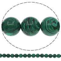 Natural Malachite Beads, Round, different size for choice, Hole:Approx 1mm, Length:Approx 15 Inch, Sold By Lot