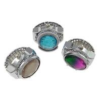 цинковый сплав Часы-кольцо, с Стеклянный, Платиновое покрытие платиновым цвет, регулируемый & граненый & разнообразный, не содержит никель, свинец, 23mm, размер:4, 5ПК/Лот, продается Лот