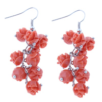 Синтетический коралл Сережка, с Латунь, Форма цветка, кровавый, 19x55mm, 5Пары/сумка, продается сумка