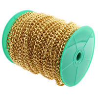 Iron Jewelry Chain, with plastic spool, gold color plated, curb chain, nickel, lead & cadmium free, 11x8x3mm, 100m/Spool, Sold By Spool
