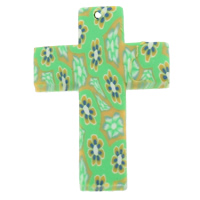 Polymer Clay Pendants, Cross, handmade, with flower pattern, green, 44x29x4mm, Hole:Approx 1mm, 100PCs/Bag, Sold By Bag
