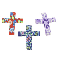 Polymer Clay Pendants, Cross, handmade, with flower pattern, mixed colors, 46x60x4mm, Hole:Approx 1.5mm, 100PCs/Bag, Sold By Bag